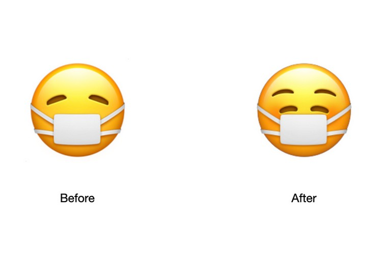 Face With Mask Emoji before after