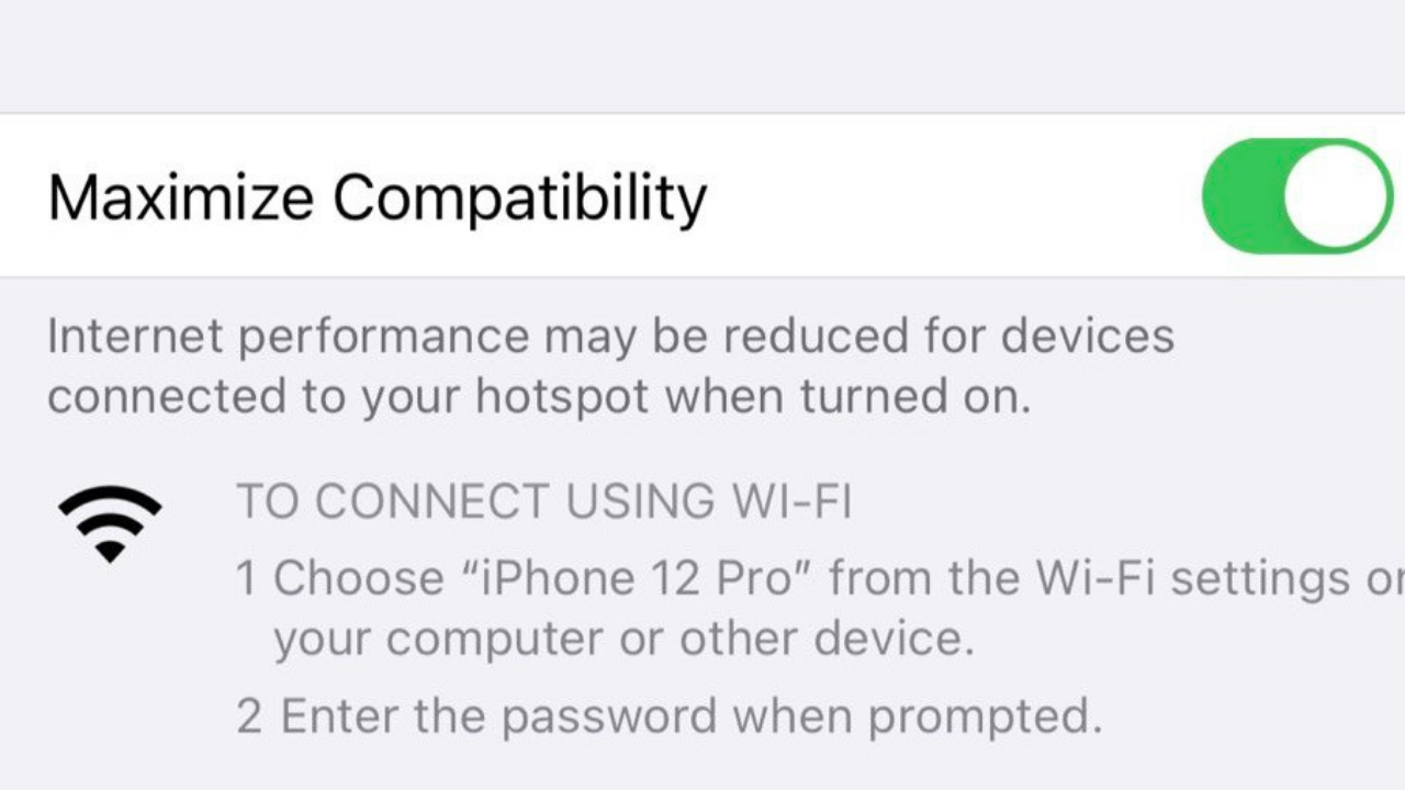 iPhone 12 series can enables Personal Hotspot Over Faster 5GHz Wi-Fi